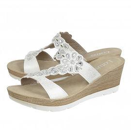 Lotus Catania Wedge Sandals- White