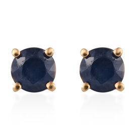 Kanchanaburi Blue Sapphire (1.00 Ct) 14K Gold Overlay Sterling Silver Earring  1.000  Ct.