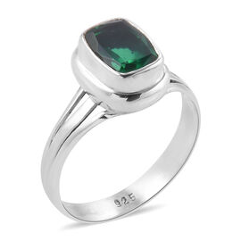Royal Bali Collection Emerald Quartz (Cush) Solitaire Ring in Sterling Silver 2.290 Ct. Silver wt 4.50 Gms.