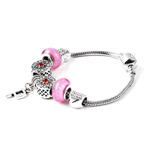P Initial Charm Bracelet for Children in Simulated Pink Colour Bead, Red and White Austrian Crystal Size 6.5 Inch in Silver Tone