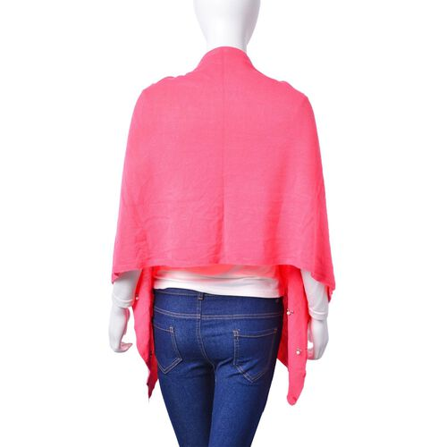 Italian Designer Inspired - Pearl Detailed Pink Colour Buttoned Scarf/ Cardigan (Size 160x43 Cm)