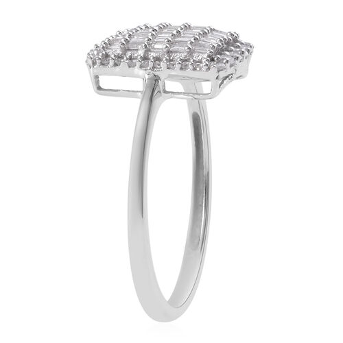 9K W Gold SGL Certified Diamond (I3/G-H) Cluster Ring 0.50 Ct.