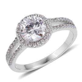 ELANZA Simulated White Diamond Ring in Rhodium Plated Sterling Silver, Silver wt 3.06 Gms.