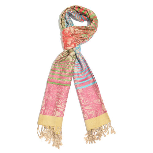 Designer Inspired-Red, Blue, Pink and Multi Colour Floral Pattern Scarf with Fringes (Size 190x70 Cm
