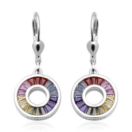 ELANZA Simultaed Rainbow Sapphire Drop Lever Back Earrings in Rhodium Overlay Sterling Silver 2.05 C