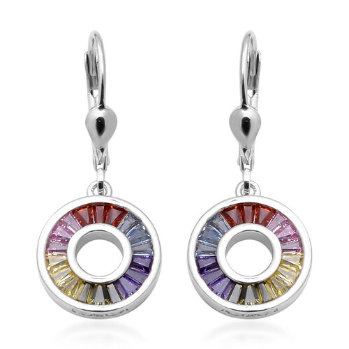 ELANZA Simulated Rainbow Sapphire Drop Lever Back Earrings in Rhodium Overlay Sterling Silver 2.05 C