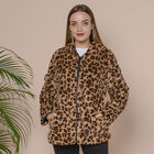 Leopard Pattern Faux Fur Coat with Two Pockets and Zipper Closure (Size L; 59x75cm) - Brown