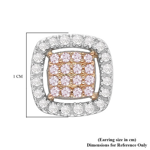 9K Yellow and White Gold Natural Pink Diamond and White Diamond (I3) Stud Earrings (with Push Back) 0.33 Ct.