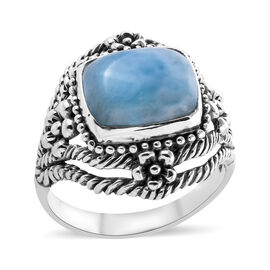 Royal Bali Collection Larimar (Cush 12x10 mm) Ring in Sterling Silver 6.740 Ct, Silver wt 5.00 Gms