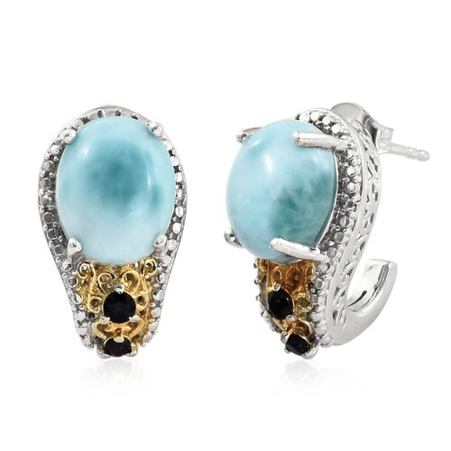 Larimar (Ovl), Kanchanaburi Blue Sapphire Earrings (with Push Back) in Platinum Overlay Sterling Silver 8.750 Ct.
