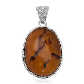 Signature Collection- Baltic Amber (Ovl 29x21.50mm) Pendant in Sterling Silver 27.00 Ct. Silver wt 6.00 Gms.