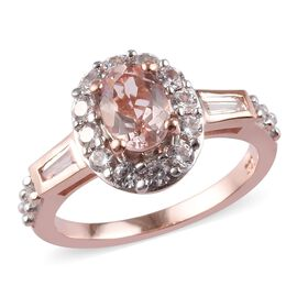 1.65 Ct Marropino Morganite and Zircon Halo Ring in Rose Gold Plated Sterling Silver