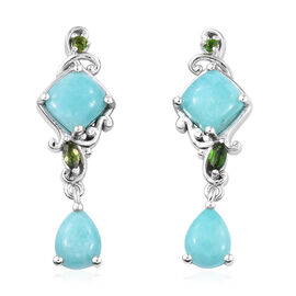 5.25 Ct Peruvain Amazonite Drop Earrings in Platinum Plated Sterling Silver 5.16 Grams