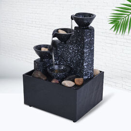 Super Find - Mini Water Fountain with LED Light - Black (Size - 11x9x17 cm)
