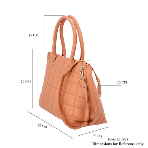 Quilted Pattern Satchel Bag with Detachable Shoulder Strap and Zipper Closure (Size 32x14x26 Cm) - Peach