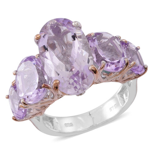 Rose De France Amethyst (Ovl 7.16 Ct) 5 Stone Ring in Rhodium Plated and Rose Gold Overlay Sterling