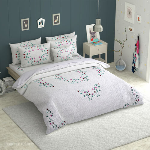 Embroidered Microfibre Soft Washed Bed Cover (Size 240x250) and Two Pillow Cases (Size 70x50 Cm). Mu