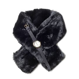 One Time Deal - 2 Piece Set- Japanese Movement STRADA Watch & Faux Fur Black Scarf