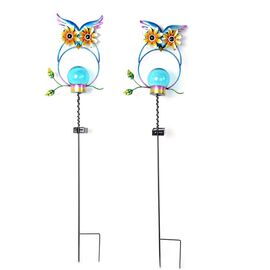 Set of 2 - Solar Powered Owl Shape Stake Light (Length 70 Cm) - Blue and Black