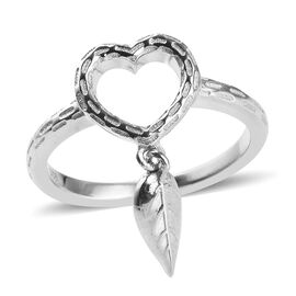 Platinum Overlay Sterling Silver Leaf Charm Heart Ring