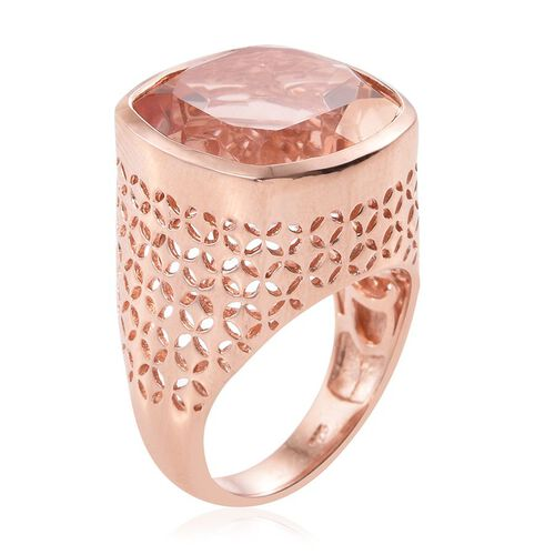 Galileia Blush Pink Quartz (Cush) Ring in Rose Gold Overlay Sterling Silver 18.250 Ct.