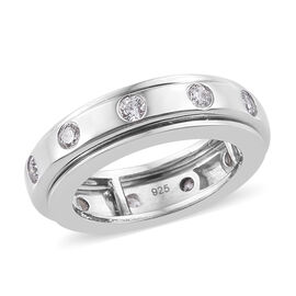 J Francis - Platinum Overlay Sterling Silver (Rnd) Spinner Ring Made with SWAROVSKI ZIRCONIA