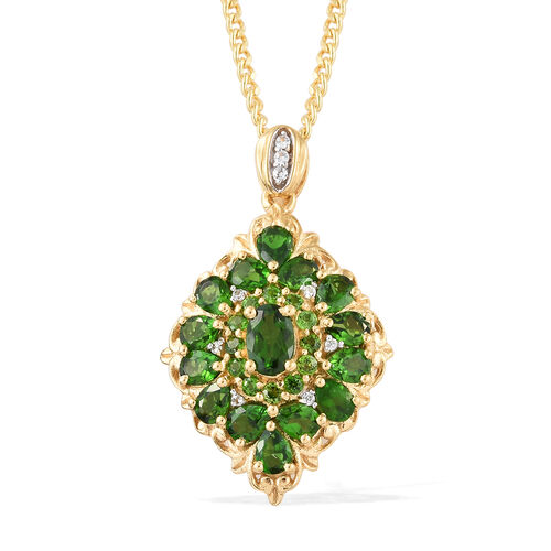 Russian Diopside (Ovl and Pear),Natural Cambodian Zircon Cluster Pendant With Chain in 14K Gold Overlay Sterling Silver 3.000 Ct, Silver wt 5.24 Gms.