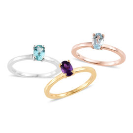 Set of 3- Sky Blue Topaz (Ovl), Paraibe Apatite and Amethyst Ring in Platinum, Yellow Gold and Rose Gold Overlay Sterling Silver 1.500 Ct, Silver wt 5.37 Gms.