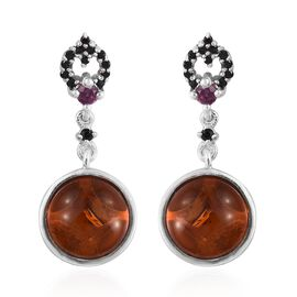 Baltic Amber (Rnd), Boi Ploi Black Spinel and Rhodolite Garnet Earrings (with Push Back) in Platinum Overlay Sterling Silver 2.750 Ct.