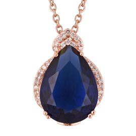 Simulated Blue Topaz and Simulated Diamond Drop Pendant With Chain in Rose Tone and Stainless Steel