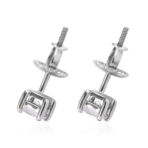 RHAPSODY 950 Platinum IGI Certified Diamond (Sqr) (VS/E-F) Stud Earrings (with Screw Back) 0.500  Ct.