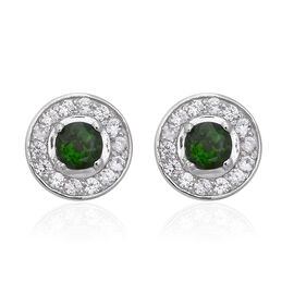 1.76 Ct Russian Diopside and Zircon Halo Stud Earrings in Rhodium Plated Sterling Silver