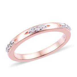 Natural Cambodian Zircon (Rnd) Band Ring in Rose Gold Overlay Sterling Silver 0.200 Ct.