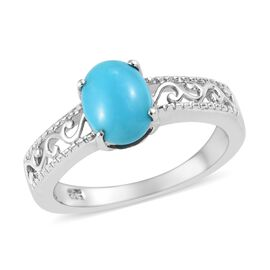 Arizona Sleeping Beauty Turquoise (Ovl) Filigree Solitaire Ring in Platinum Overlay Sterling Silver