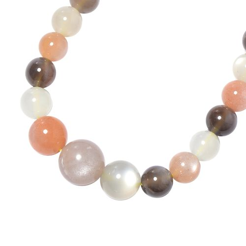 Multi Moonstone (Rnd 5-12mm) Beads Necklace (Size 20) with Magnetic Lock in Rhodium Overlay Sterling Silver 190.00 Ct.