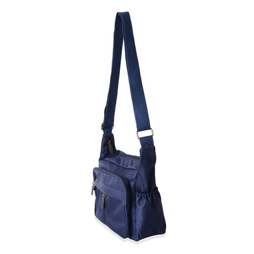 Close Out Deal- Water Resistant Multi Pocket Cross Body Bag - Black ( 34x22x12 Cms) - Navy Colour