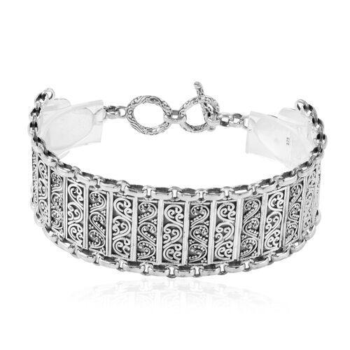 Royal Bali Collection Sterling Silver Filigree Bracelet (Size 7.5), Silver wt 29.55 Gms.