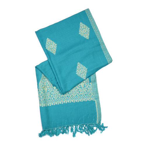 One Time Deal- Designer Inspired Teal Colour Shawl (Size 200x70 Cm)