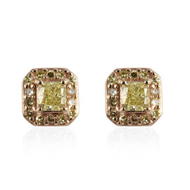 9K Yellow Gold Natural Yellow Diamond Stud Earrings (with Push Back) 0.50 Ct.