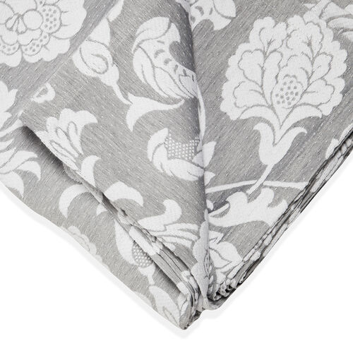 Egyptian Cotton King Size Pique Bedcover with Big Woven Flowers, Made in Portugal (Size 240X260 cm) - Grey