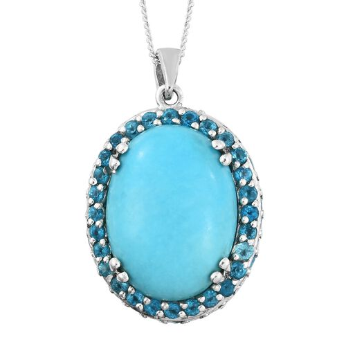 Arizona Sleeping Beauty Turquoise (Ovl 8.65 Ct), Malgache Neon Apatite Pendant with Chain in Platinum Overlay Sterling Silver 11.250 Ct, Silver wt 6.50 Gms. Number of Gemstone 125