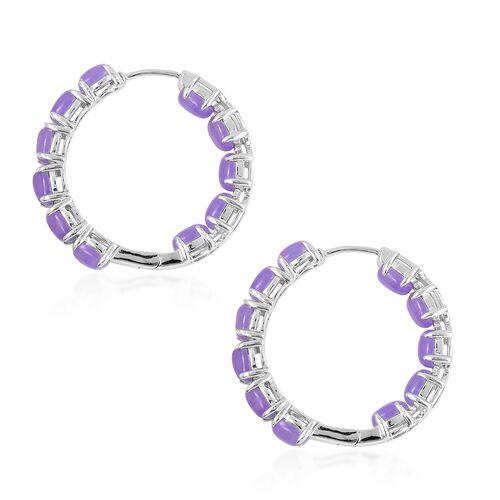 Purple Jade (Ovl 6x4 mm) Hoop Earrings (with Clasp Lock) in Rhodium Overlay Sterling Silver 13.250 Ct.