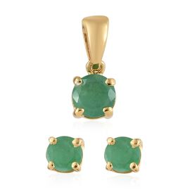 Kagem Zambian Emerald (Rnd) Solitaire Pendant and Stud Earrings (with Push Back) in 14K Gold Overlay Sterling Silver 0.75 Ct