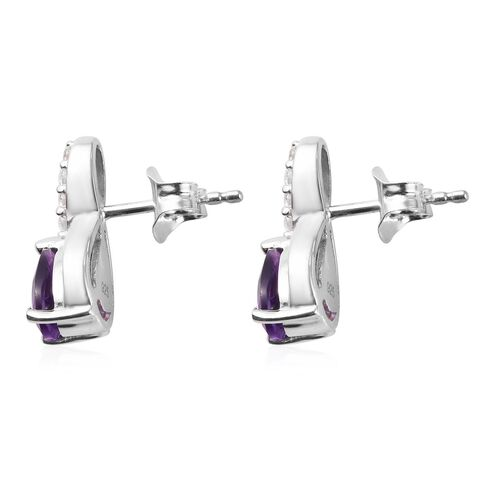 Amethyst, Natural Cambodian Zircon Drop Earrings (with Push Back) in Platinum Overlay Sterling Silver 1.50 Ct.
