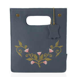 Close Out Deal-100% Genuine Leather Blue Colour Floral Embroidery Cut-out Handle Structured Bag (Size 25x22x15 Cm)