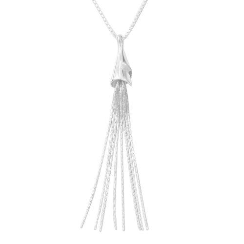 Designer Inspired- One Time Deal Sterling Silver Tassel Necklace (Size 20). Silver Wt 10.00 Gms