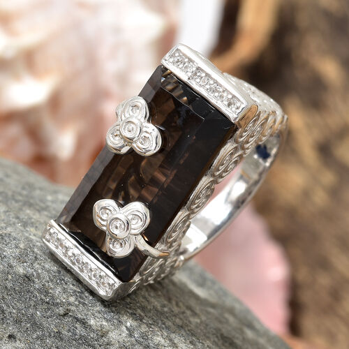 GP Brazilian Smoky Quartz (Bgt 9.88 Ct), Natural White Cambodian Zircon and Kanchanaburi Blue Sapphire Ring in Platinum Overlay Sterling Silver 10.000 Ct, Silver wt 9.00 Gms.