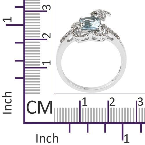 Designer Inspired-Rare Size Espirito Santo Aquamarine (Cush 9X7 ), Natural Cambodian Zircon Ring in Platinum Overlay Sterling Silver 2.249 Ct.