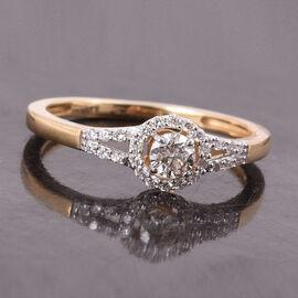 ILIANA 0.33 Ct Diamond Halo Ring in 18K Yellow Gold IGI Certified SI GH