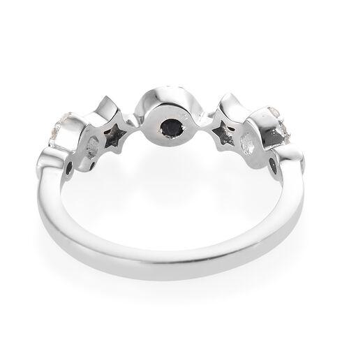 GP Blue Diamond (Rnd), Kanchanaburi Blue Sapphire Ring in Platinum Overlay and Blue Plating Sterling Silver 0.220 Ct.